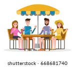 group of people in a street... | Shutterstock .eps vector #668681740