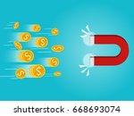 dollar coin rolling fry...   Shutterstock .eps vector #668693074