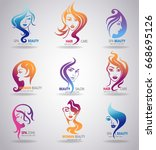silhouettes of a girl faces... | Shutterstock .eps vector #668695126