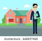 real estate broker at work.... | Shutterstock . vector #668697460