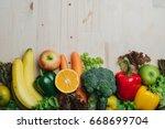 fresh vegetable and fruit on... | Shutterstock . vector #668699704