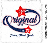 original denim vector t shirt... | Shutterstock .eps vector #668702998