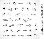 hand drawn arrows  vector set   Shutterstock .eps vector #668705413