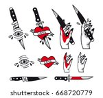traditional tattoo style set   ... | Shutterstock . vector #668720779