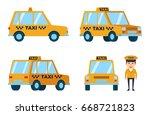 diverse views of taxi car....   Shutterstock .eps vector #668721823