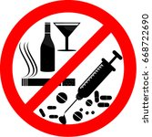 no smoking  alcohol and drugs | Shutterstock .eps vector #668722690