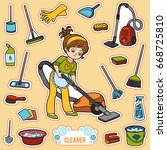 vector set with girl and... | Shutterstock .eps vector #668725810