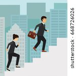 business people running up the... | Shutterstock .eps vector #668726026