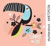 Toucan Bird Cartoon With...
