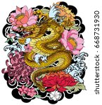 hand drawn dragon tattoo ... | Shutterstock .eps vector #668731930