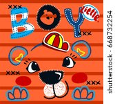 cute tiger boy head on striped... | Shutterstock .eps vector #668732254