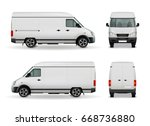 realistic white cargo van with... | Shutterstock .eps vector #668736880