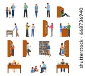 library icons set with people... | Shutterstock .eps vector #668736940
