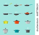 pans and pots colorful icons... | Shutterstock .eps vector #668738614