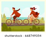 a pair of cyclists on a nature... | Shutterstock .eps vector #668749354