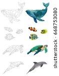 low poly vector sea animals set ... | Shutterstock .eps vector #668753080