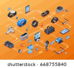 wearable technology isometric... | Shutterstock .eps vector #668755840