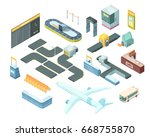 airport isometric set with... | Shutterstock .eps vector #668755870