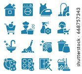 set of cleaning icons. vector... | Shutterstock .eps vector #668757343
