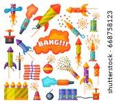fireworks vector set... | Shutterstock .eps vector #668758123