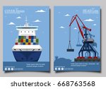 sea shipping banner with port... | Shutterstock .eps vector #668763568