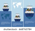 sea shipping flyer template set.... | Shutterstock .eps vector #668763784