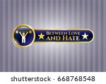 gold emblem with weightlifting... | Shutterstock .eps vector #668768548