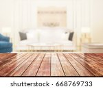 closeup top wood table with... | Shutterstock . vector #668769733