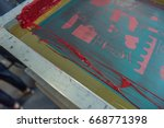screen printing frame and mesh...   Shutterstock . vector #668771398