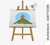 eruption of volcano. colorful... | Shutterstock .eps vector #668776588