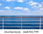 Railing Of Cruise Ship With...