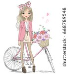 Stock vector hand drawn beautiful cute girl stands near bicycle with a basket full of flowers vector 668789548