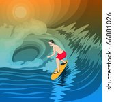 young surfer in the waves | Shutterstock .eps vector #66881026
