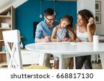 father and mother teach... | Shutterstock . vector #668817130