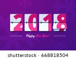 happy new year 2018 scoreboard... | Shutterstock .eps vector #668818504
