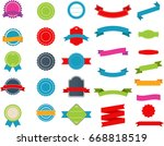 set of vintage labels  ribbons  ... | Shutterstock .eps vector #668818519
