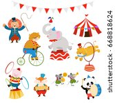 cute circus character set | Shutterstock .eps vector #668818624