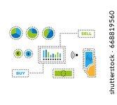 trading via smart phone... | Shutterstock .eps vector #668819560