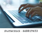 woman using laptop  searching... | Shutterstock . vector #668819653