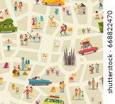 abstract map seamless vector... | Shutterstock .eps vector #668822470