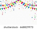 colorful party flags with... | Shutterstock .eps vector #668829973