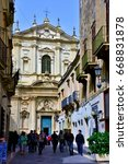 Small photo of LECCE ITALY APRIL 30: Saint Irene church was built from 1591 - April 30 2017 Lecce Italy