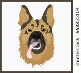 icon with sheepdog. vector... | Shutterstock .eps vector #668855104