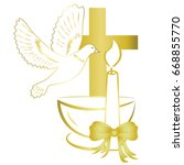 gold design for sacrament of... | Shutterstock .eps vector #668855770