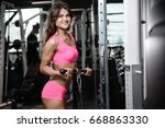 sexy fitness girl with a... | Shutterstock . vector #668863330