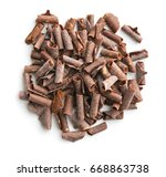 tasty chocolate curls isolated... | Shutterstock . vector #668863738