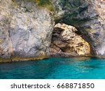 maltese cave with blue and... | Shutterstock . vector #668871850