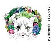 portrait of the cat in a flower ... | Shutterstock .eps vector #668877589