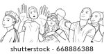 illustration of festival crowd...   Shutterstock .eps vector #668886388