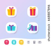 set of icons of gift boxes | Shutterstock .eps vector #668887846